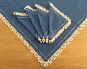 Blue Linen Square Table Cloth and 4 Napkins