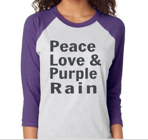 Prince shirt peace love and purple rain by shyrtsupply on etsy for Purple rain shirt prince