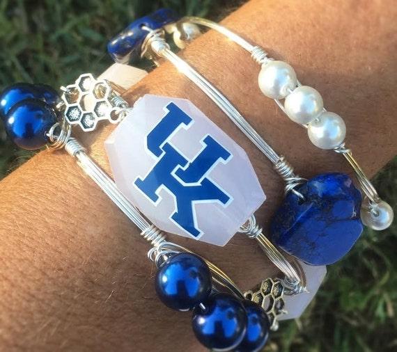 Kentucky bangle bracelet, UK bangle, University of Kentucky jewelry, Wire wrapped bangle, Ky bangle, wire wrapped bracelet