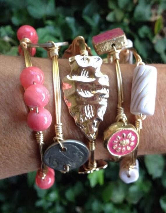 Arrowhead Bangle Bracelet,  Wire wrapped bangle, Handmade Bangle