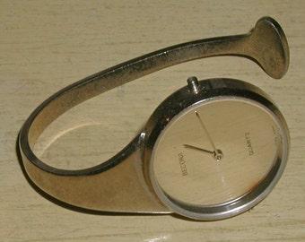 1980's Milwaukee Art Museum Modern Chrome Design Cuff Bracelet Style BECORA Watch