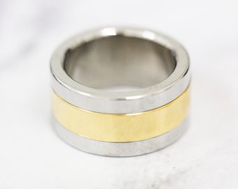 Size: O (US 7) Stainless Steel Band Ring With Gold Finish, Men's Steel Band, Gent's Steel Band, Dress Ring