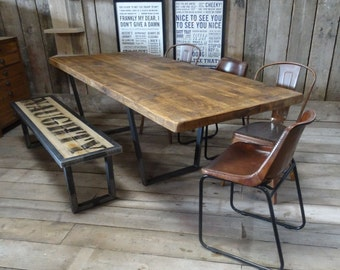 John Lewis Calia Style Extending Vintage Industrial Reclaimed Top Dining Table