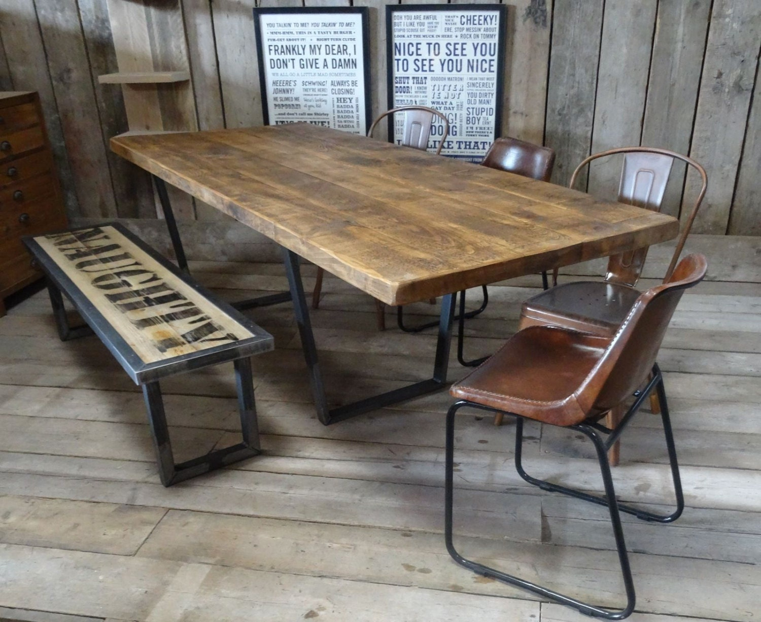 John lewis calia style extending vintage industrial reclaimed - Table bois metal industriel ...