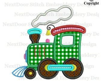 Locomotive train Embroidery Applique, steam steamer engine truck,  vl-013
