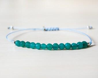 Green chalcedony bracelet, dark green chalcedony, dark green bracelet, green stone bracelet
