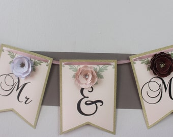Mr. and Mrs. Floral Pennant Bunting Banner with Love Phrase and Flowers for Bridal Shower, Wedding, and Reception Party
