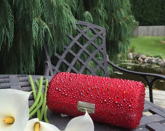 Jimmy Choo clutch encrusted with Swarovski Rhinestones...