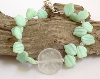 Beaded Bangle Bracelet, Mint Green Bracelet, Bridesmaid Bracelet, Glass Bead Bracelet, Beach Bracelet for Women, Handcrafted Jewelry