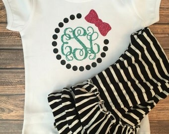 Girls monogram puff sleeve shirt