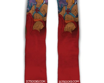 He-Man Masters of The Universe Custom Socks He-Man Riding Battle Cat