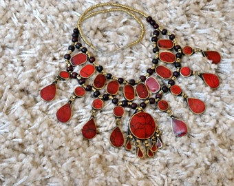 Handmade Tribal Antique Afghan Statement Necklace
