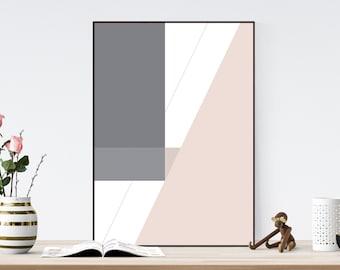 Geometric pink and grey poster - Printable Modern Wall Art, Modern Art, Instant Art, Scandinavian Downloadable Print, Abstract Art, Wall Art