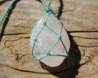 Rose Quartz Crystal Macrame Necklace (hand-knotted/thread only/no metals)