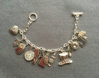Alice in wonderland themed bracelet