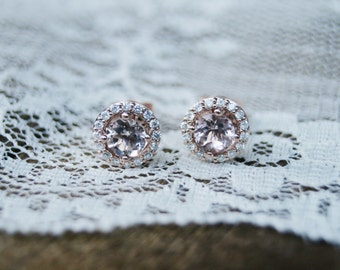 Rose Gold Morganite Earrings With Diamond Halo, Morganite and Rose Gold, Halo Earrings