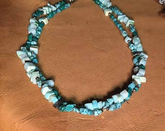 Handmade Genuine Turquoise Choker, Southwestern Necklace, Native American Choker, 2 strand choker, Genuine Turquoise Jewelry, Stone Necklace