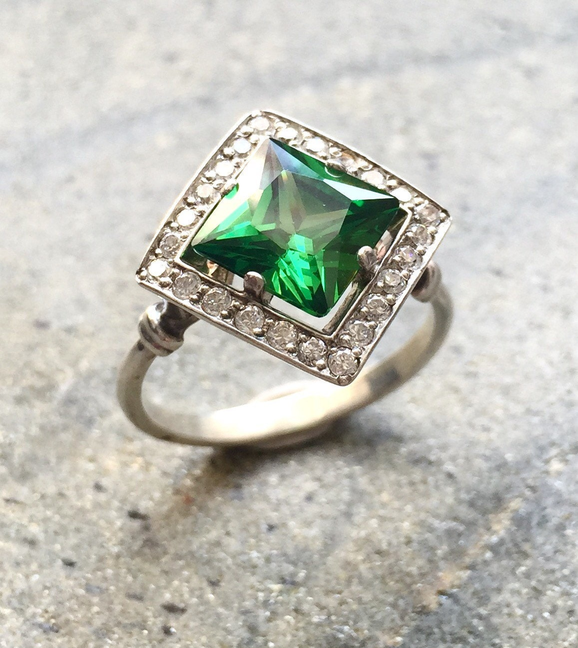 Beautiful Emerald Engagement Rings Etsy