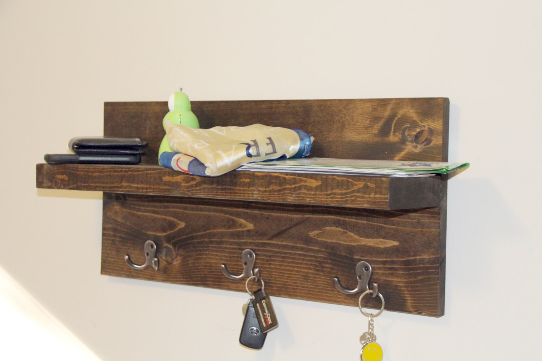 entryway floating shelf key holder shelf key by gbandwood on etsy. Black Bedroom Furniture Sets. Home Design Ideas