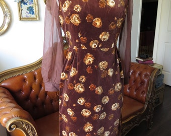 "1950s Dress - Brown Floral Velvet Wiggle Dress - Sheer Long Sleeves - Fitted Sheath - Vintage Dress - Fancy Evening Dress - XS/S Waist 25"""