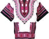 White & Pink Unisex Dashiki