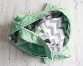 Baby Blanket - Minky Blanket - Chevron Blanket - Grey chevron Opal/Mint Green Minky baby blanket. Baby play mat. Baby pram blanket.