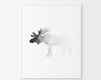 Moose Decor, Moose Art, Geometric Animal Prints, Moose Decorations, Moose Wall Art, Moose Art