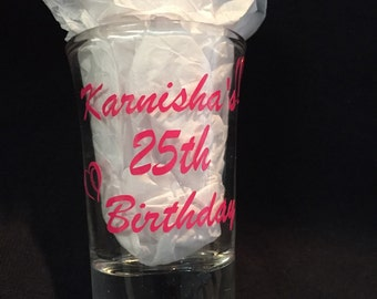 Personalized Birthday Shot Glass, Party Favors, Special Birthday Party Shot Glasses, Birthday Gift for Him or Her, Birthday Party Favors
