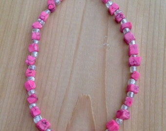 Pink and white anklet