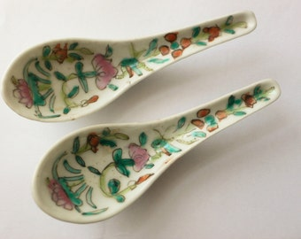 antique Chinese porcelain spoons famille rose wax seals PAIR 19thc oriental porcelain Chinese Porcelain