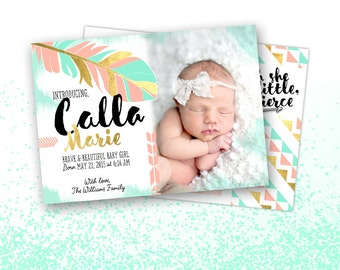 Boho Chic Birth Announcement, New Baby Girl, Printable Digital File JPG or PDF, Aztec Feather, Gold Foil
