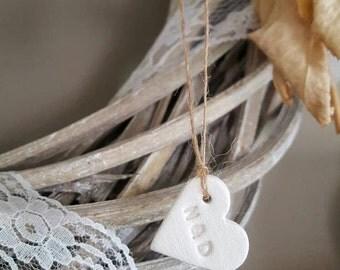 100 Tiny Clay Hearts ~ Wedding Favor Tags~ Wedding Decor ~ Wedding Invitations ~ Personalized Tags