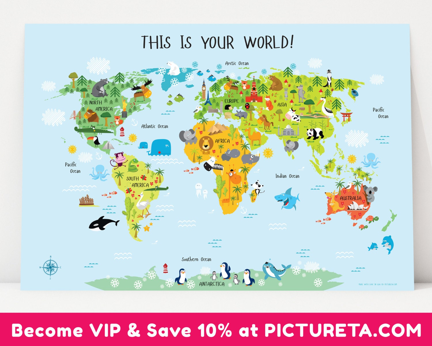 World Map Poster Etsy - Us map poster 24x36