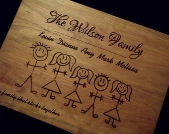 10x13 Cherry Cutting Board-Stick Family Personalized Hardwood Butcher Block.  Perfect gift for Wedding, Anniversary, New Baby, or Christmas