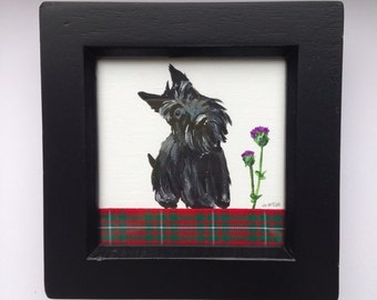 Scottie dog original painting- small box framed Scottish Terrier with thistle and tartan ribbon, Scottish souvenir, Valentines Day gift!
