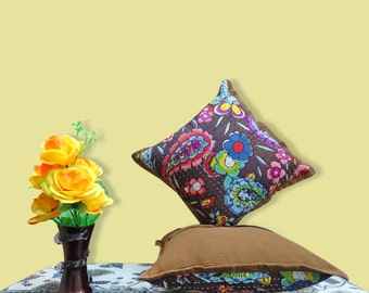 Brown Kantha Pillow Cover Indian floral pillow handmade throw pillow 16X16 KCC74