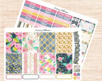 Roses Little Weekly Kit (matte planner sticker, fits perfect in Erin Condren Life Planner Vertical)