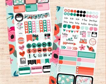 Flower Contrast PERSONAL Kit (matte planner sticker, Filofax, Kikki K, Websters Pages, Color Crush)