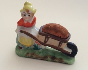 Vintage Occupied Japan Dutch Girl with Wheelbarrow Pin Cushion