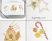 Holiday Sweet Notecards in CD Tin -- Gingerbread house, candy cane, cookies