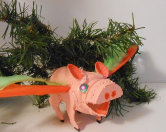 "3"" Pink Flying Pig Ornament"