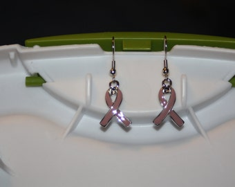 Pink Ribbon Earrings