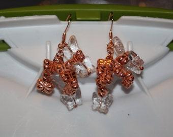 Copper & Clear Butterfly Earrings