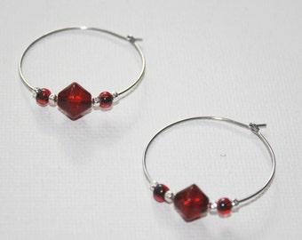 """hypoallergenic earrings, hoop earrings, red earrings, silver earrings, holiday earrings, simple earrings, """"fire drops"""""""