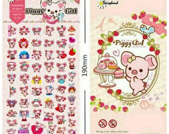 Kawaii Piggy Girl San-X Japanese Character Stickers