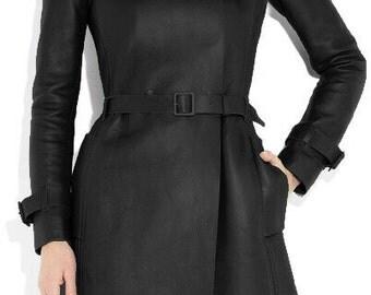 BNWTStallion Women's LAMBSKIN Leather Coat Knee Length ST066