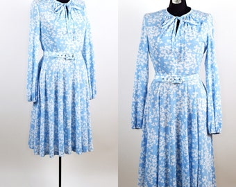 Vintage 1970s Blue Clover Sears Dress / large