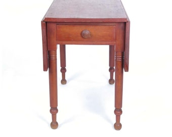 Drop Leaf Table Antique 19th C 1 Drawer Turned Legs Wooden Primitive  American