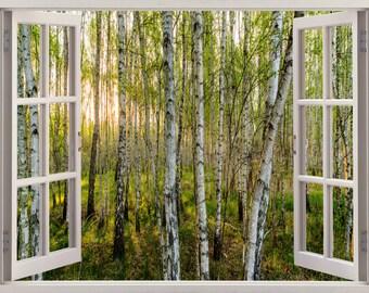 Birch 3D Window Wall Sticker, Wall Decal Birch