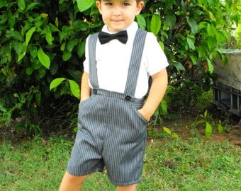 Boys Pants with Braces. Toddler Shorts with Suspenders. Grey Pinstripe Baby Pants. Page Boy Outfit. Cake Smash Outfit. Suspender Shorts